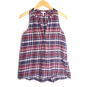 Joie Aruna Plaid Sleeveless Top Small Burgundy